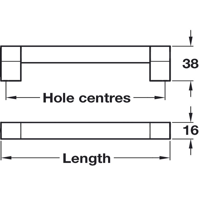 diagram showing length, breadth and depth of the door handle.