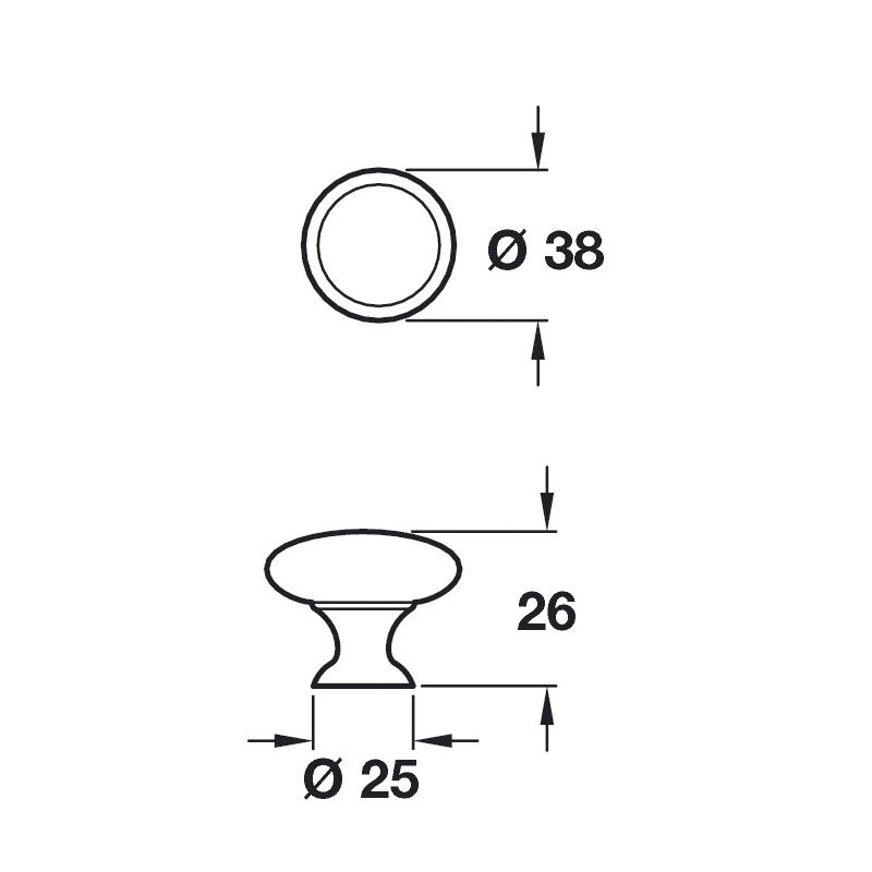 specifications diagram for kitchen door handle henrietta knob