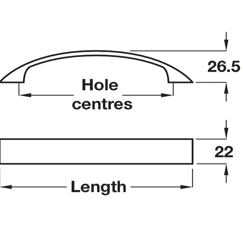diagram outlining kitchen door handle dimensions