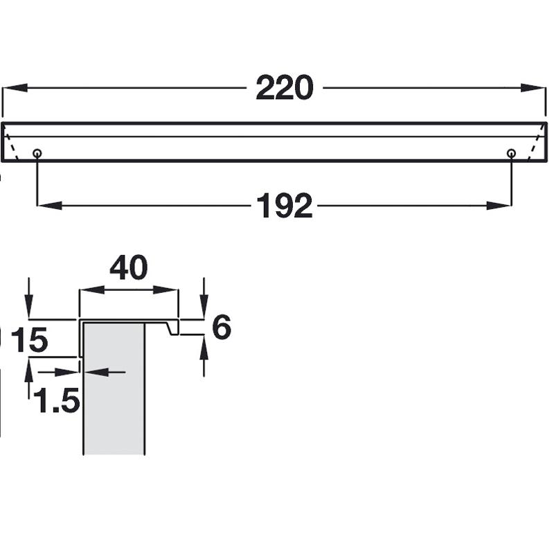 diagram drawing of handle dimensions