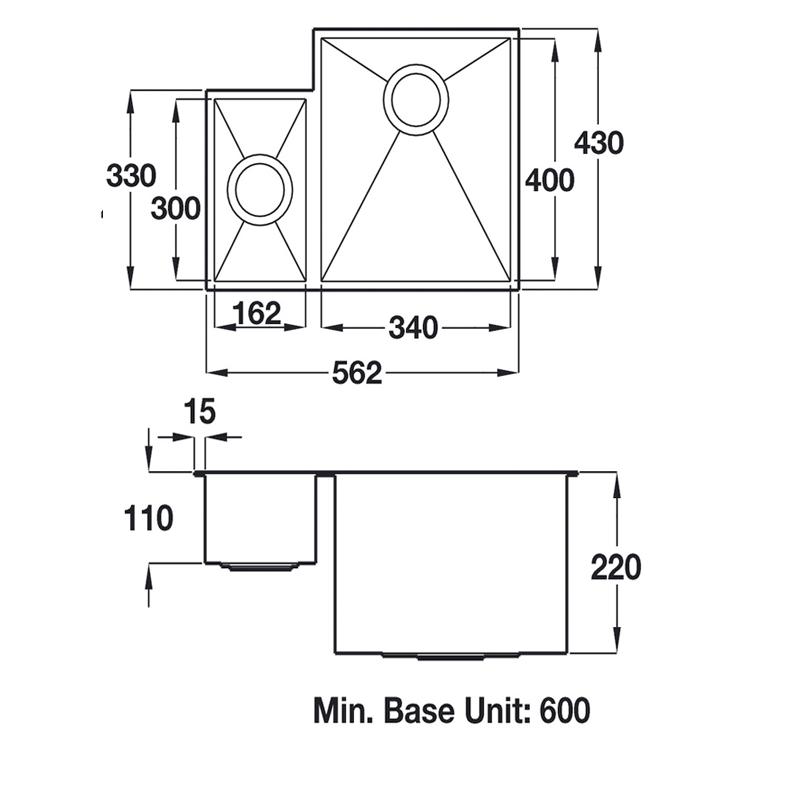 specification sheet for ashton undermount stainless steel sink 1.5 bowl