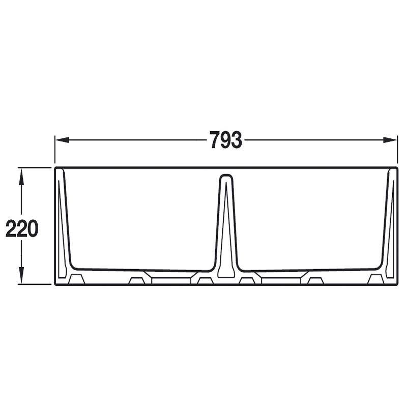 specification sheet double belfast ceramic sink 800